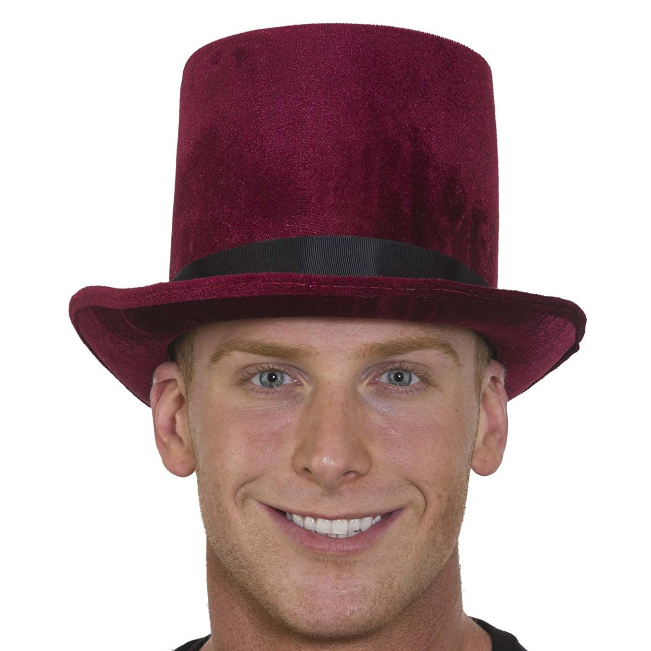christmas caroler top hat burgundy