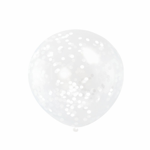 Clear Balloons With White Confetti