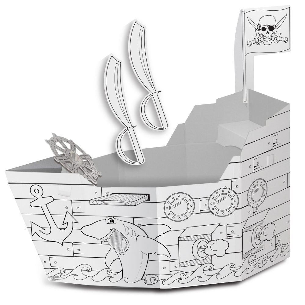 color your own pirate ship playhouse