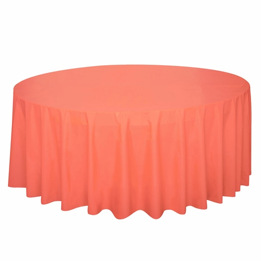 Coral Plastic Table Cover - Round