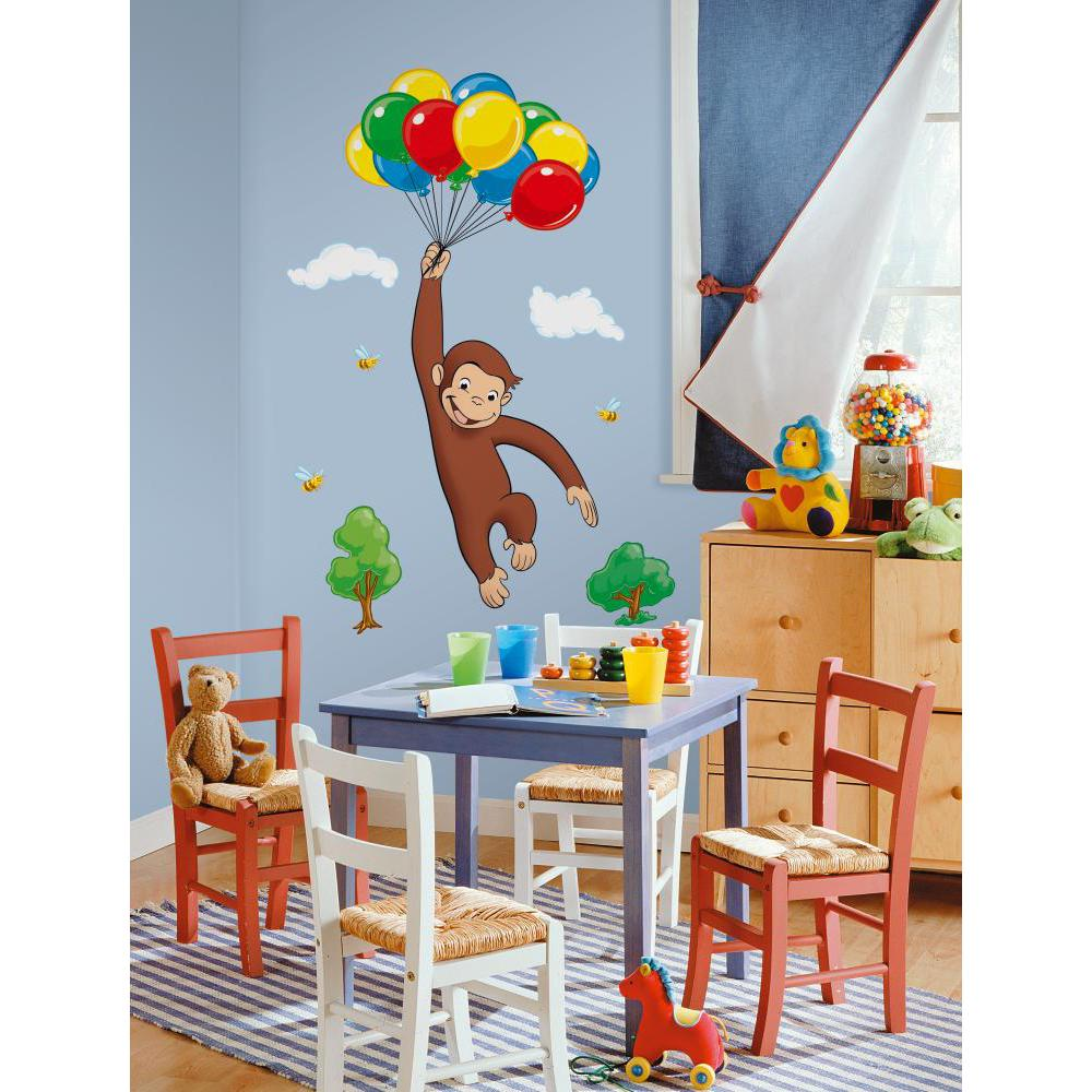 Curious george peel and stick giant wall decal for Curious george mural