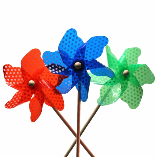 Deluxe Plastic Polka Dot or Striped Pinwheel On Wooden Stick