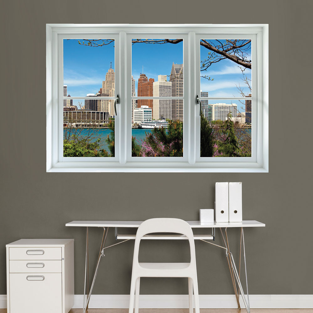 Detroit Skyline: Instant Window REALBIG Wall Decal