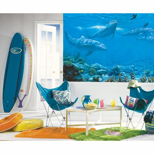 Dolphin chair rail for Dolphins paradise wall mural