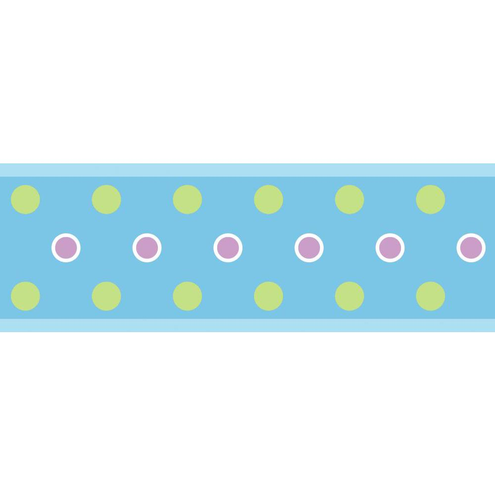 Dot Peel And Stick Border-Blue