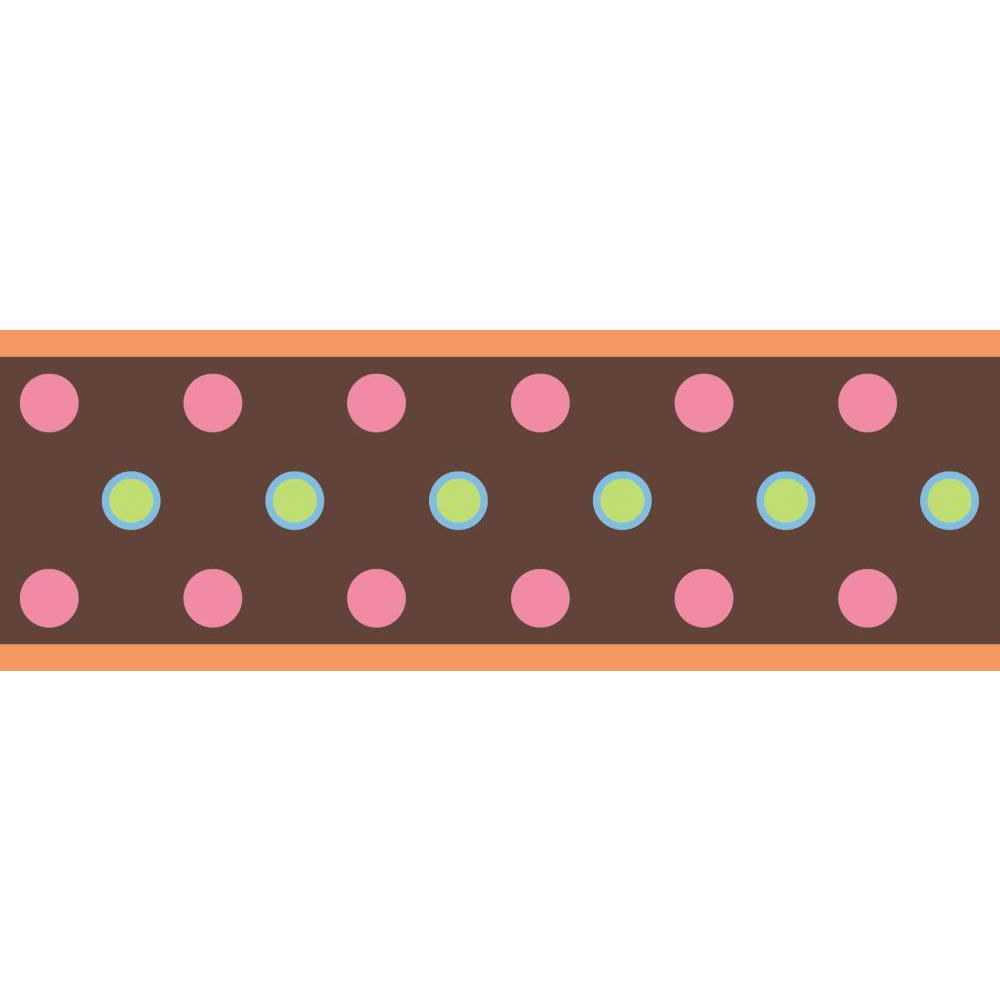 Dot Peel And Stick Border-Brown