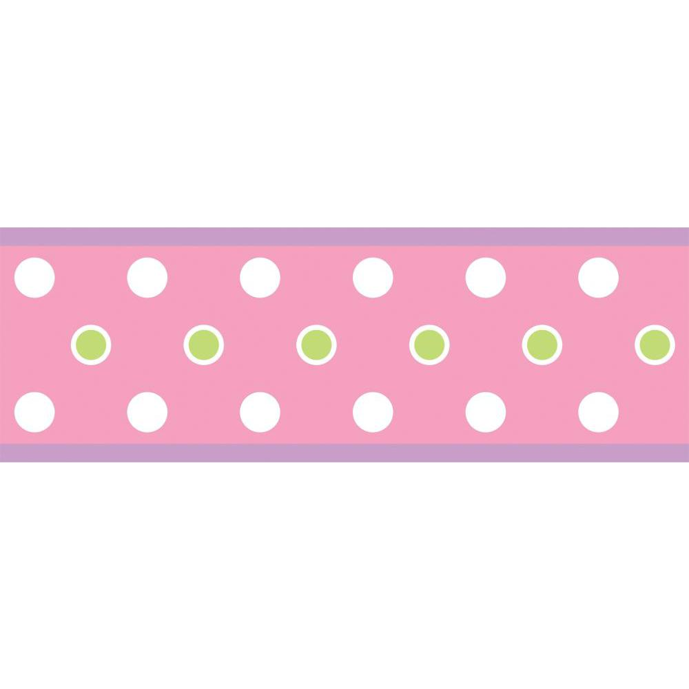 Dot Peel And Stick Border-Pink