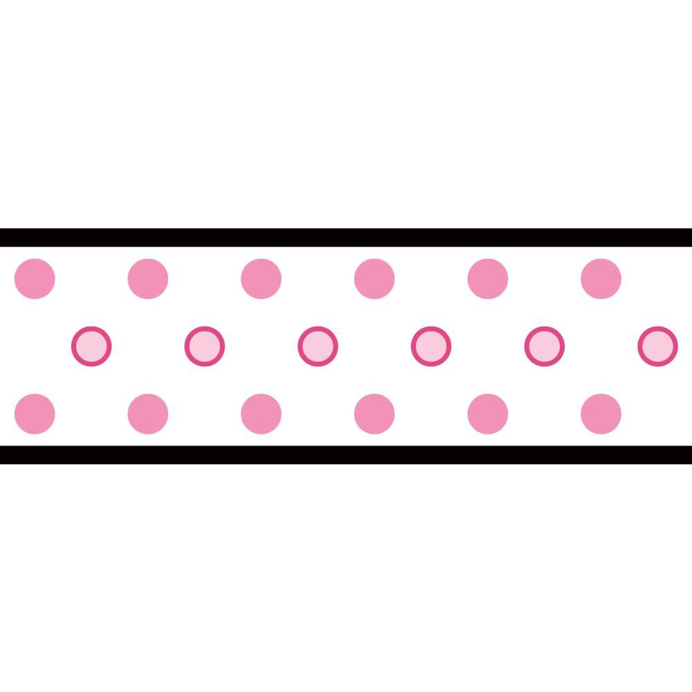Dot Peel And Stick Border-PinkAndBlack