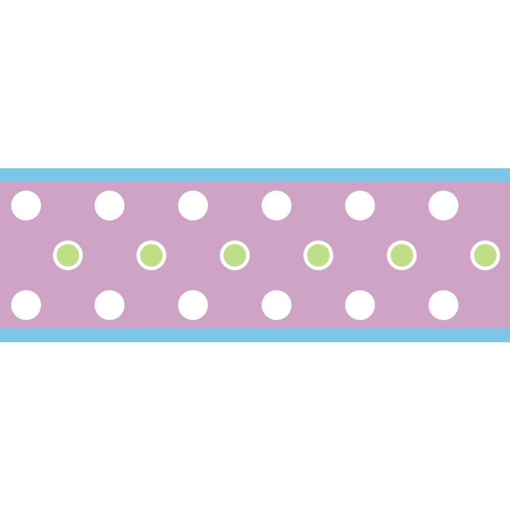 Dot Peel And Stick Border-Purple