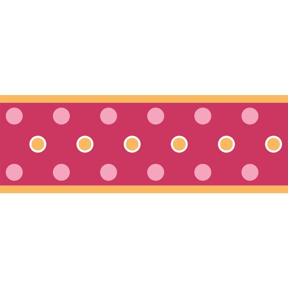 Dot Peel And Stick Border-Raspberry