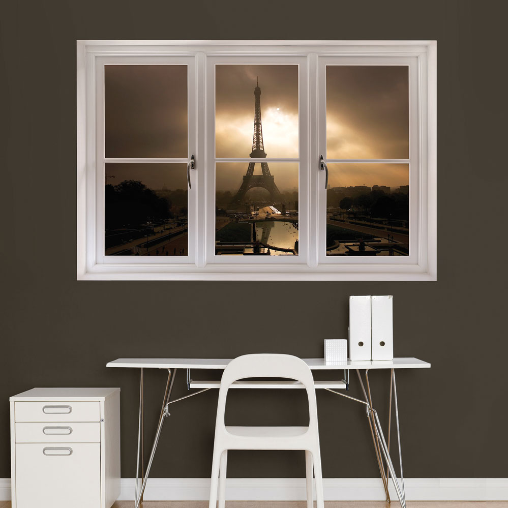 Eiffel Tower Dusk Scenic Window REALBIG Wall Decal