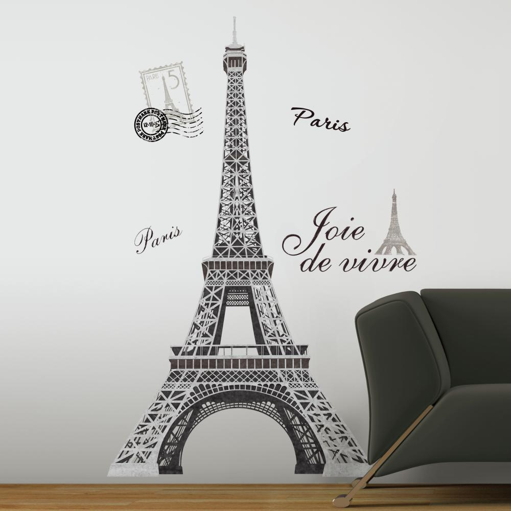 Wall Decorations Peel And Stick : Eiffel tower peel and stick giant wall decal