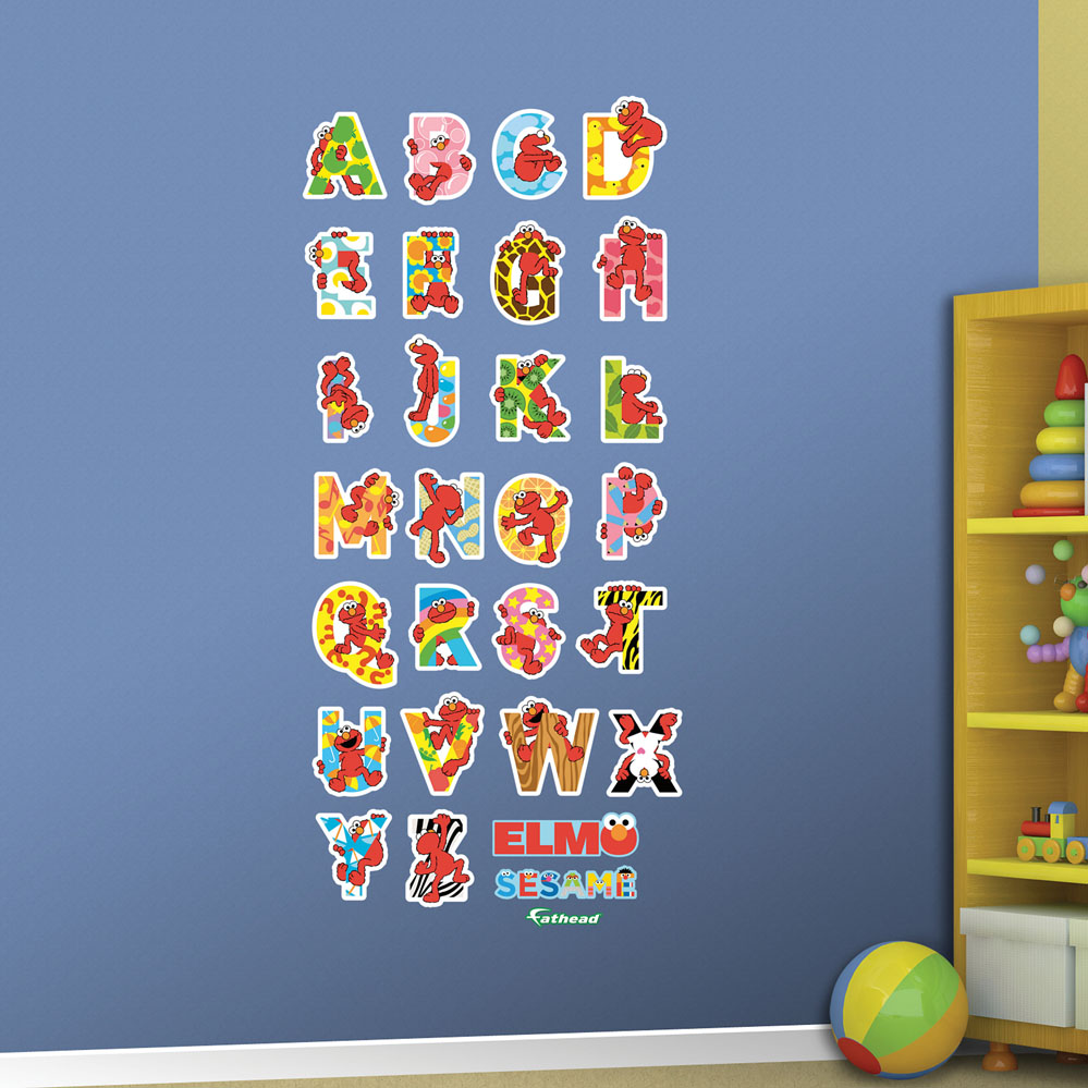 Elmo illustrated alphabet collection wall decal for Elmo wall mural