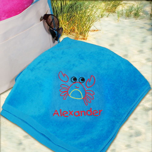 Embroidered Boy Crab Beach Towel