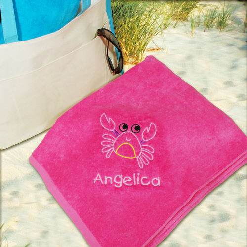 Embroidered Girl Crab Beach Towel