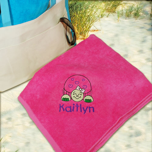 Embroidered Turtle Pink Beach Towel