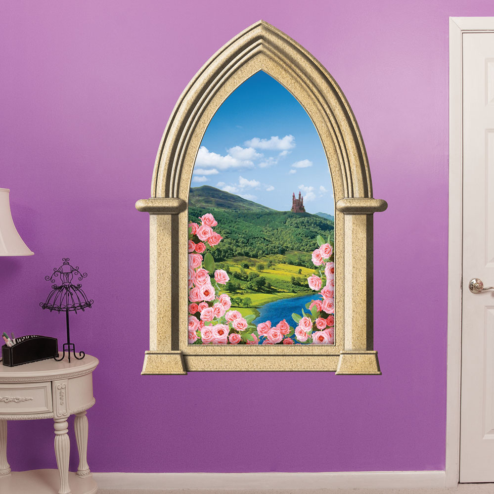 Instant Window Decals : Fairy tale castle instant window wall decal