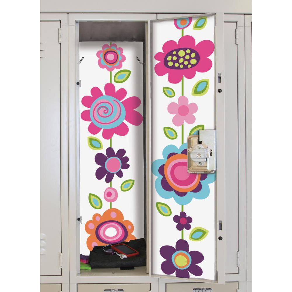 Flower Stripe Peel And Stick Locker Skins