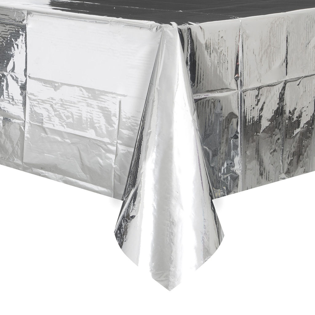 225 & Foil Silver Plastic Table Cover - Rectangle