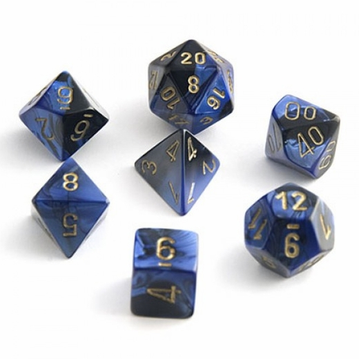 Chessex Gemini Black And Blue With Gold Polyhedral 7 Dice Set
