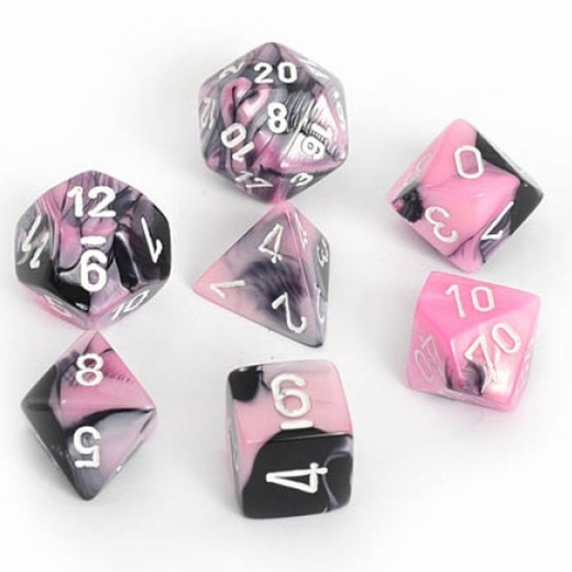 Chessex Gemini Black And Pink With White Polyhedral 7 Dice Set