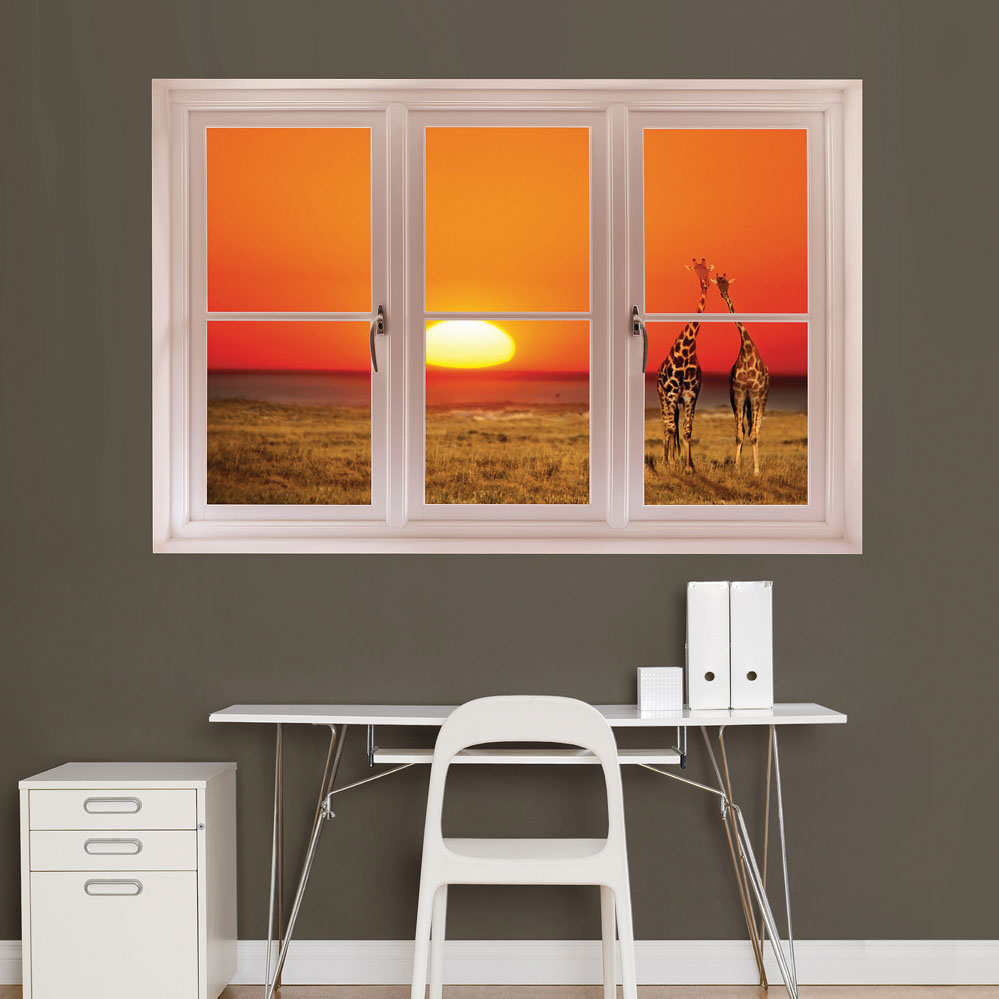 Giraffe Sunset Scenic Window REALBIG Wall Decal