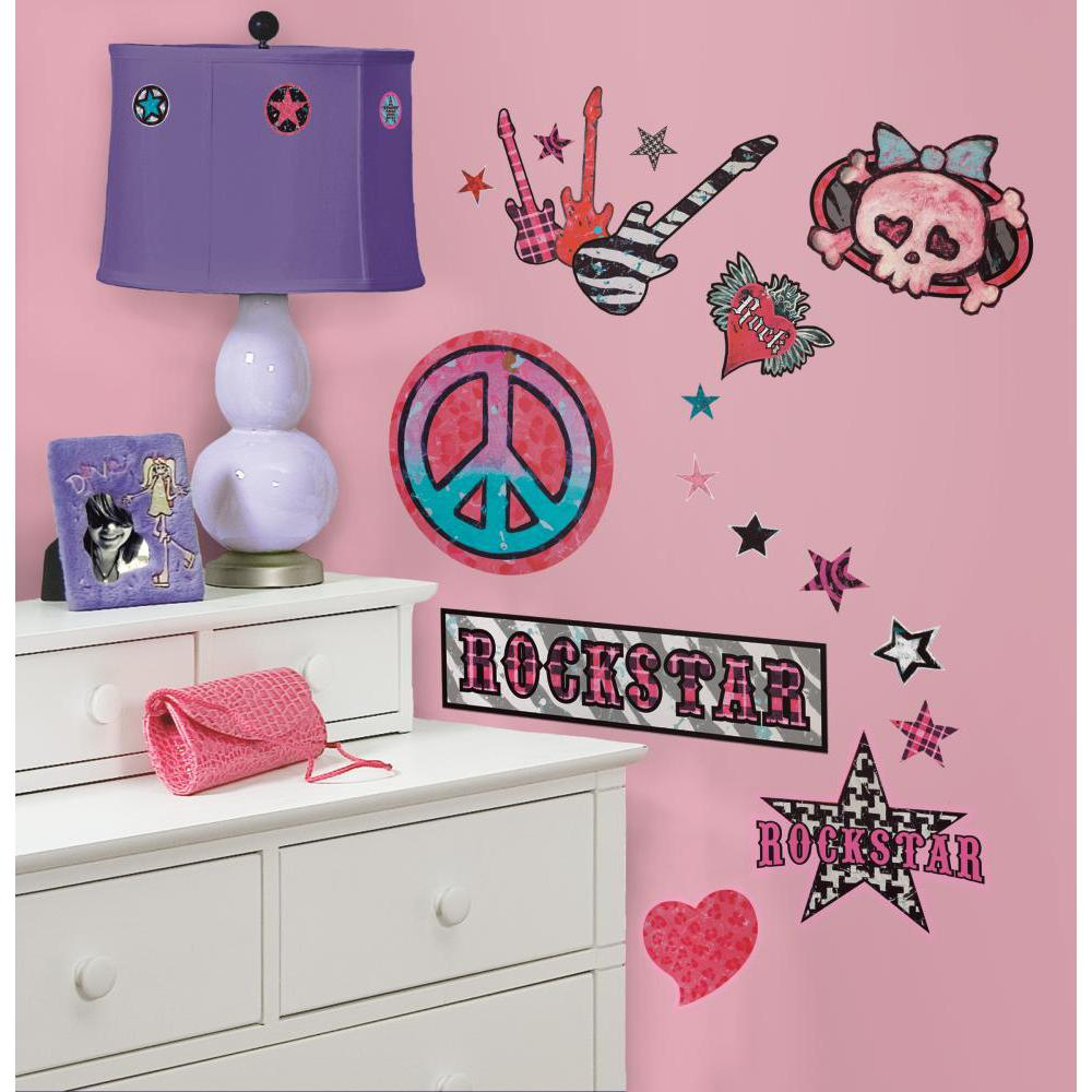 Girls Rock-n-Roll Peel And Stick Decal