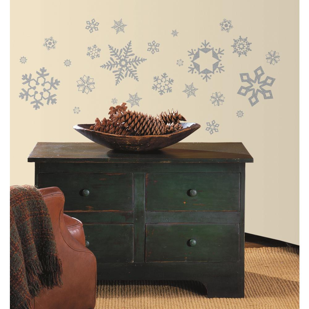 Glitter Snowflakes Peel And Stick Decal
