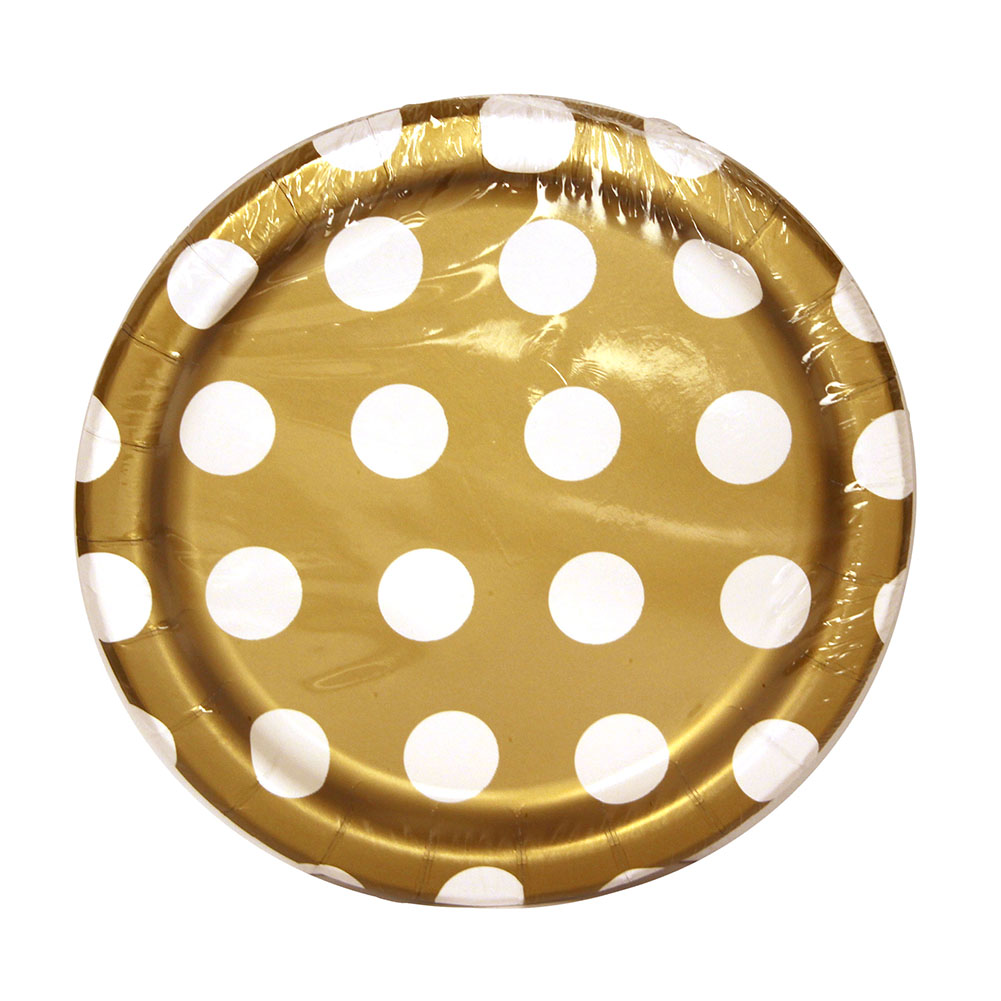 Gold Decorative Dots Paper Plates - 7