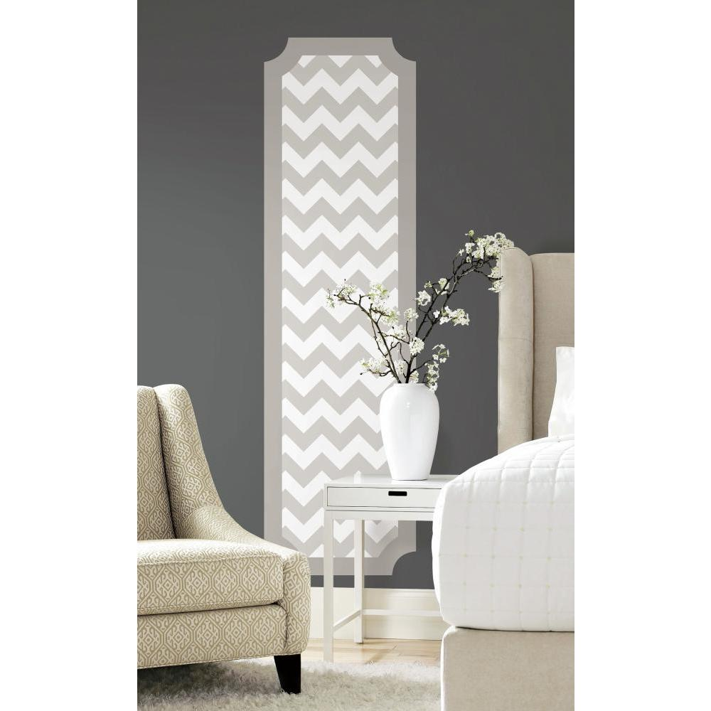 Gray and White Chevron Deco Panel