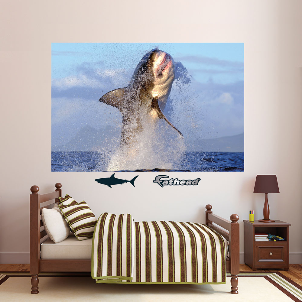Great White Shark Breaching REALBIG Wall Decal