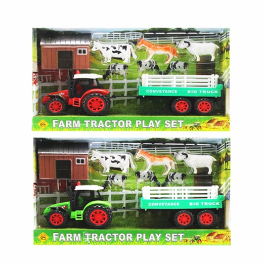 Green Or Red Farm Tractor Set