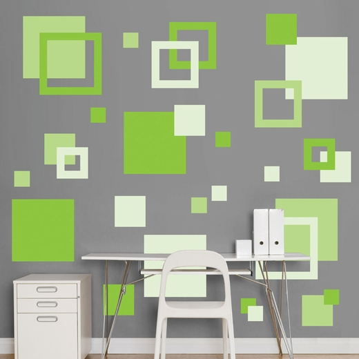 Green Squares REALBIG Wall Decal