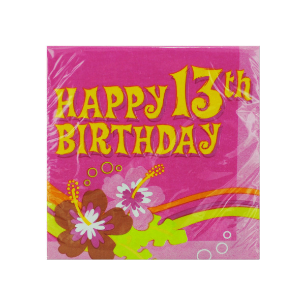 Happy 13th Birthday Aloha Napkins