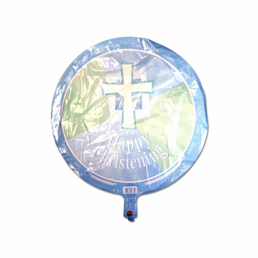 Happy Christening Blue Metallic Balloon