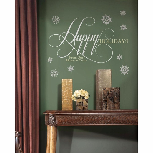 Happy Holidays Quote Giant Decal w-Glitter