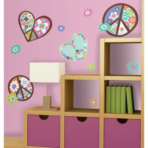 Heart And Flower Peace Sign Peel And Stick Decal