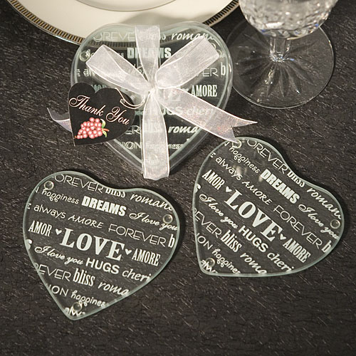 Heart Design Glass Coaster Favors Set Of 2