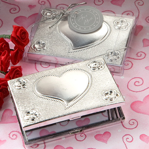 Heart Design Mirror Compact Favors