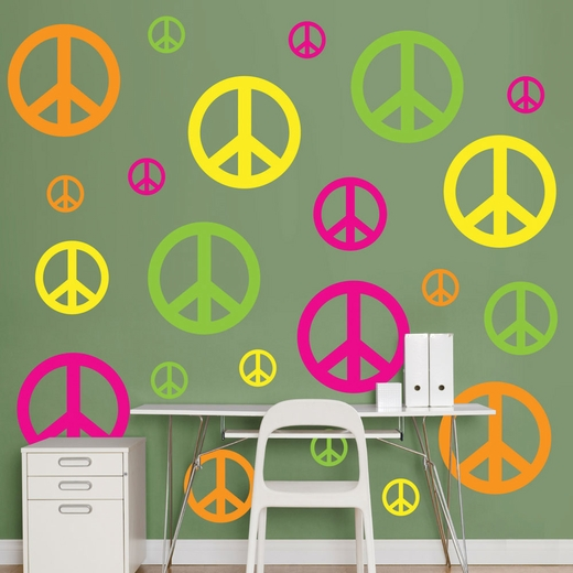 Hot Pink, Yellow, Neon Green And Orange Peace Signs