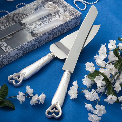 Interlocking Hearts Design Cake Knife Server Set