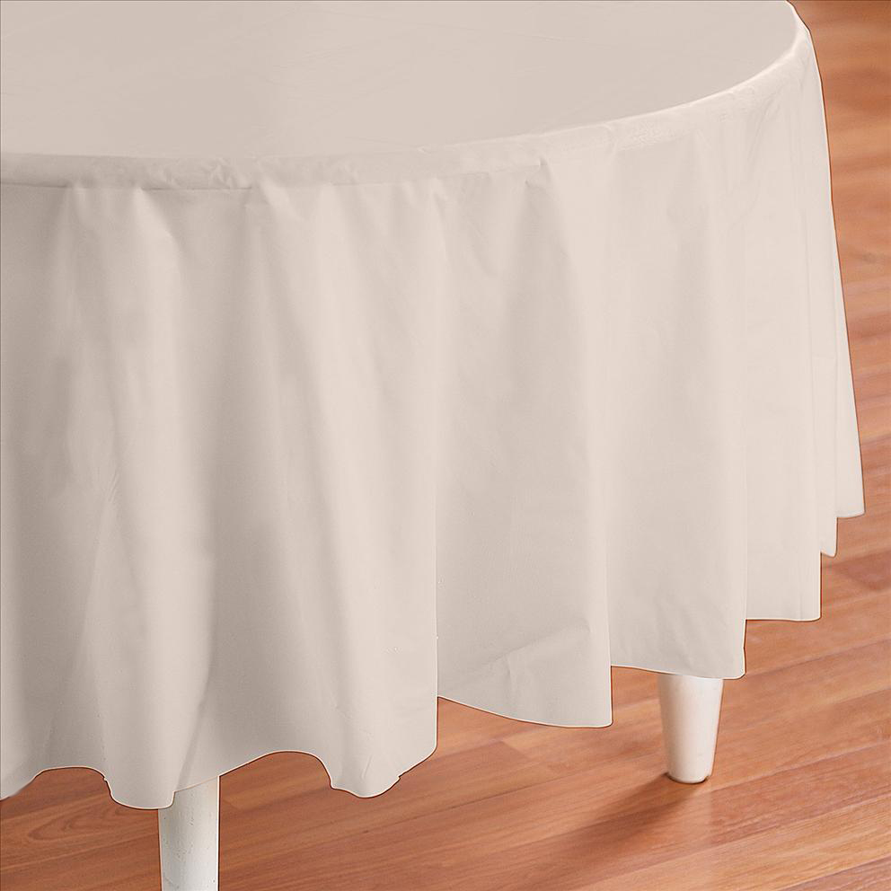 eBay & Details about Ivory Plastic Table Cover - Round