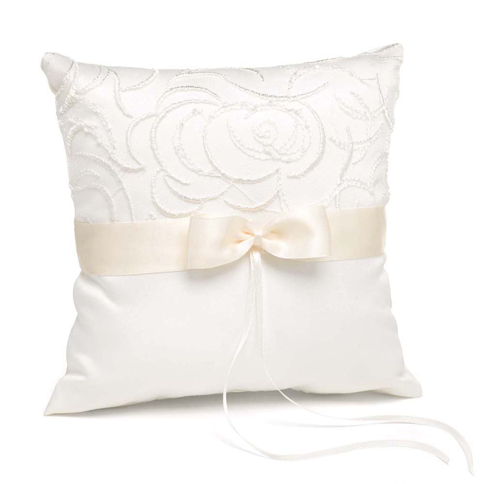 Ivory Satin And Swirls Pillow