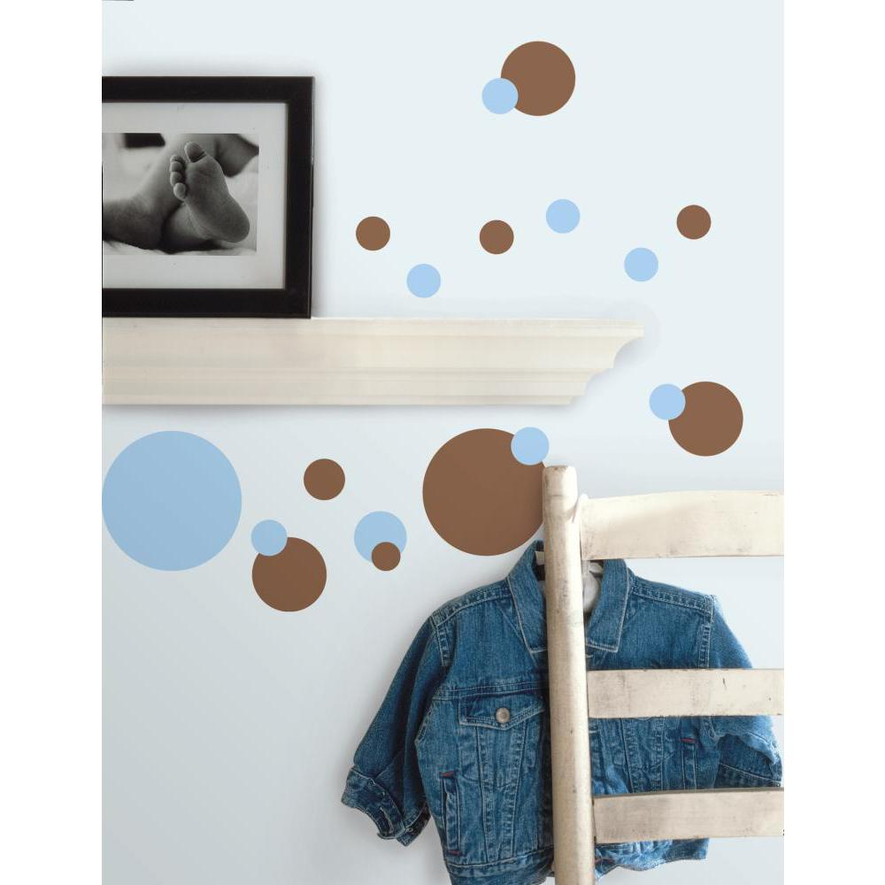 Just Dots Blue-Brown Peel And Stick Decal