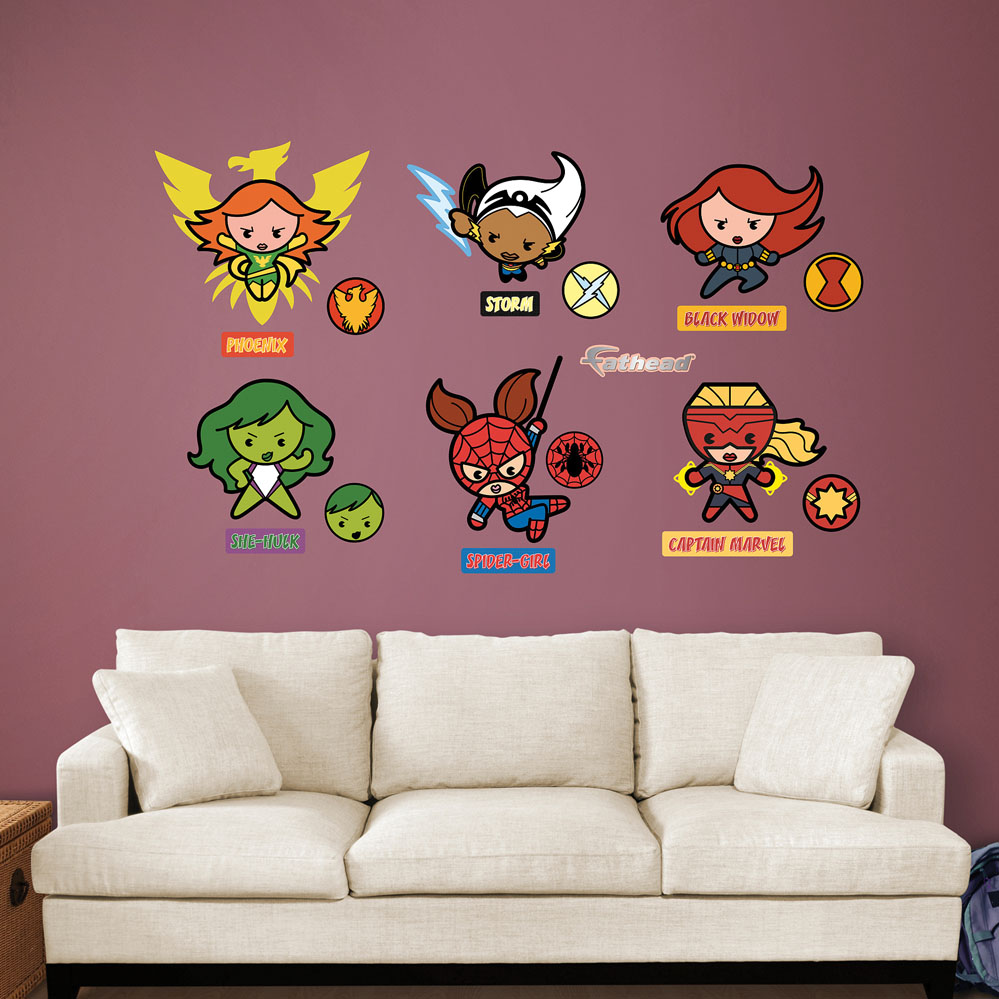 Kawaii Marvel Girl Superheroes Wall Decal