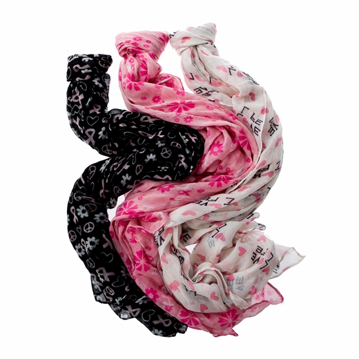 Ladies Pink Ribbon Deluxe Neck Scarf