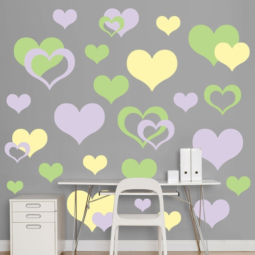 Lavender, Light Green And Light Yellow Hearts