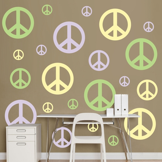 Lavender, Light Green And Light Yellow Peace Signs