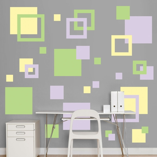 Lavender, Light Green And Light Yellow Squares