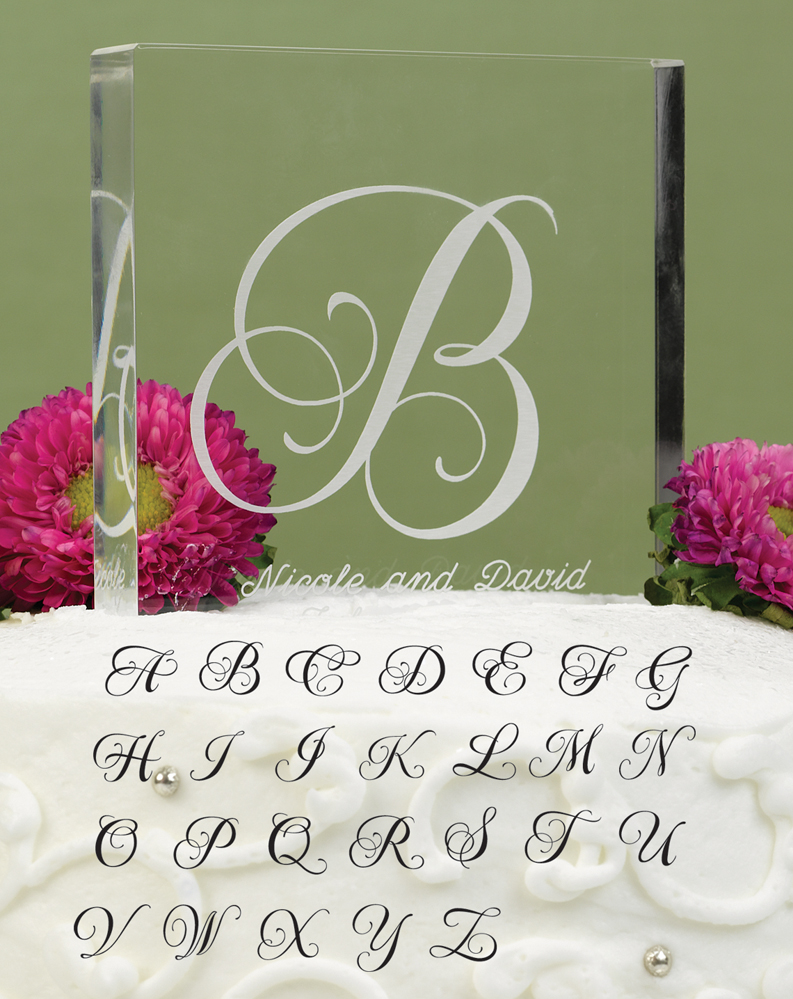 "Letter ""G"" Script Initial Cake Top"